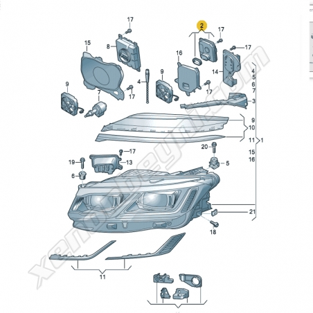 Volkswagen Touareg 2018-2021 Led Far Beyni - 80A907397D - 3
